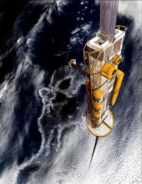 Konsepttegning av heisen på vei opp fra jordens overflate.