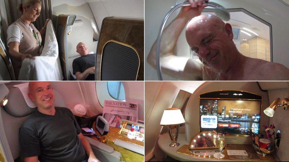 LUKSUS: Kris velter seg i luksus som passasjer på førsteklasse om bord på jumboflyet Emirates Airlines A380.