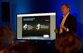 Hervé Payan fra HBO Nordic hadde mye spennende å fortelle, selv om Powerpoint-presentasjonen var noe underveldende.