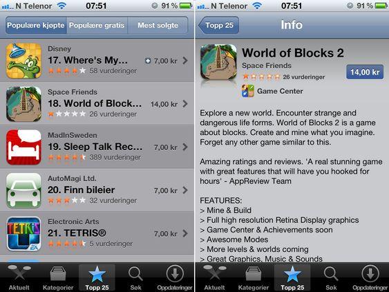 LAR SEG FRISTE: Tilsynelatende slående grafikk og fristende reklametekst får nordmenn til å kjøpe spillet «World og Blocks 2». Spillet er ren svindel.