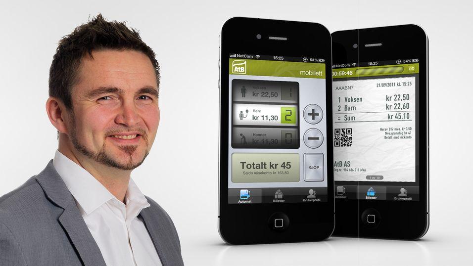 Torstein Solli Hansen er divisjonsleder for mobil billettering og betaling i WTW, som står bak AtBs billettbestillings-app.