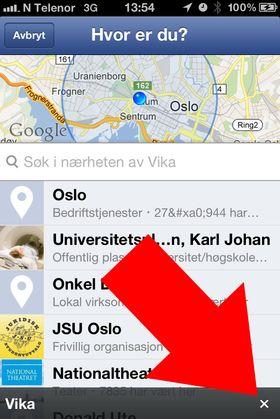 Trykk på krysset for å fjerne GPS-taggen fra Facebook-innlegget. Da forsvinner også stedsnavnet fra statusfeltet.