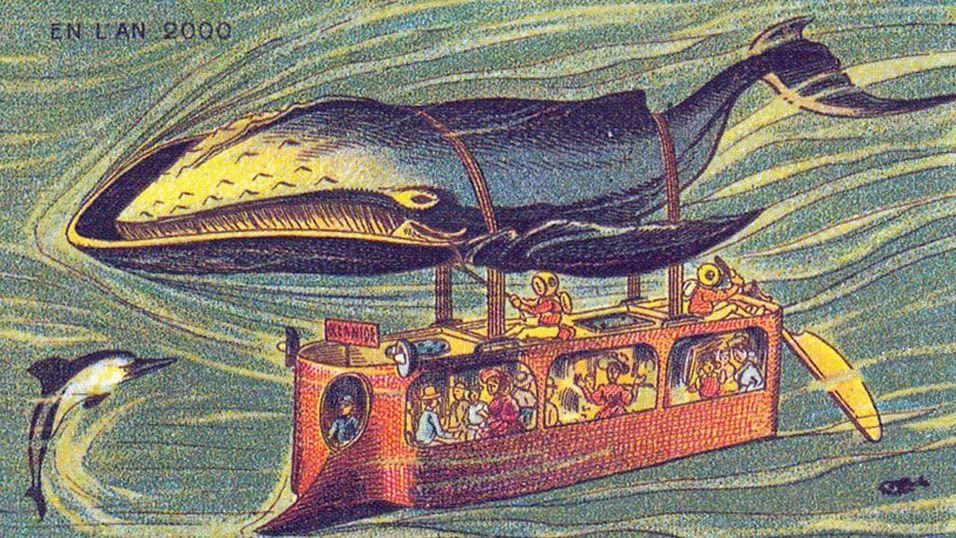 HVALBUSS: Ok, ikke alle tegningene er like realistiske. Denne hvalbussen (?) er et eksempel på en av de mer eksentriske tankene om hvordan livet i 2000 ville bli.