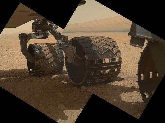 STERILT: Alle delene på Curiosity som skulle være i kontakt med Mars - deriblant de seks hjulene - ble sterilisert før avreise fra jorden. Nesten alle, i alle fall.