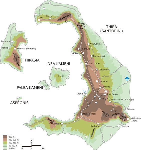 EN GANG ÉN ØY: Før utbruddet for 3600 år siden var Santorini en stor øy. Øya fikk enorme ødeleggelser og sank delvis under vann etter at vulkanen hadde tømt seg.