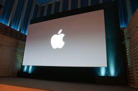 Stille før stormen. Fra storskjermen ved Apples pressearrangement ved Kings Place i London.