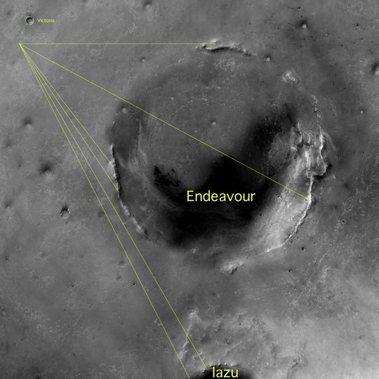 Boblene er funnet vest i krateret Endeavour, i et område som blir kalt Kirkwood.