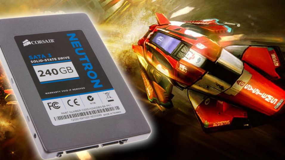 Corsairs Neutron SSD, med 240 GB innabords.