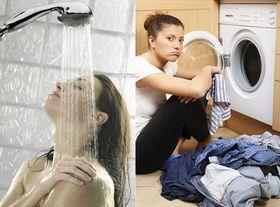 Ingenting er så kjipt som å dusje og vaske klær separat, ifølge dette pressebildet.
