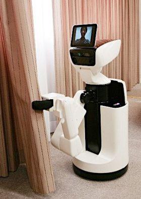 Roboten drar fra gardinene om morgenen.