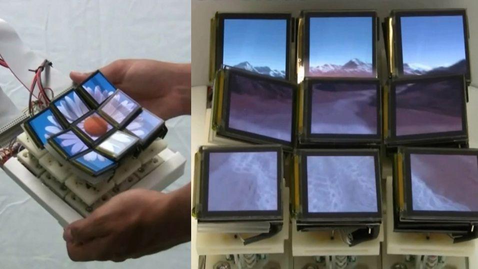 Prototypen består av ni mindre skjermer som beveger seg og vipper individuelt for å representere det som vises.