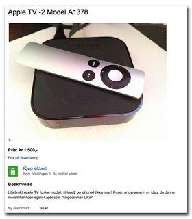 """På Finn selges den gamle modellen av Apple TV for store summer, med forklaringen «modell har noen egenskaper som """"ungdommen likar""""»."""