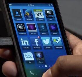 Slik ser applikasjonsmenyen i BlackBerry 10 ut.