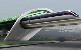 Konsept-tegning av Aeromovel, et system Elon Musk mener ligner på hans Hyperloop.