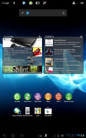 Sony har lagt ved en del egenutviklede programmer. Det er også gjort en del tilpasninger på toppen av Android, som knappen øverst til høyre for å bytte brukerkonto.