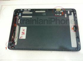 Slik skal bakstykket på nye iPad Mini se ut, ifølge et ukrainsk nettsted. Legg merke til SIM-kortluken øverst i bildet.