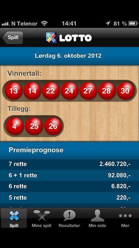Det går kjapt å sjekke Lotto-resultatene på mobilen.