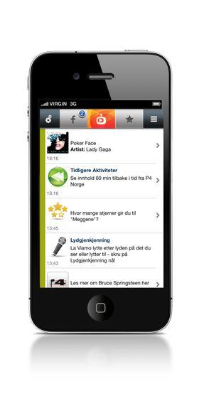 Viamo-appen viser en kontinuerlig strøm av informasjon under sendingen.
