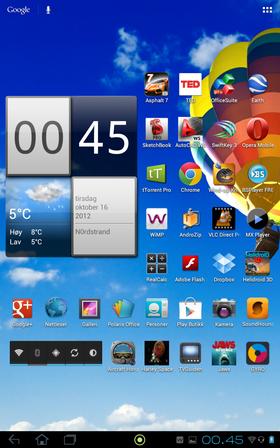 Android 4.0.3 er forhåndsinstallert.
