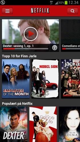 Slik ser Netflix-appen ut på en Android-telefon ...
