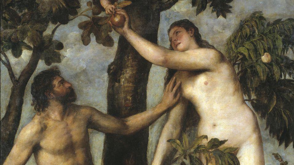 Apples eplelogo er visst for sterk kost for noen russiske, ortodokse prester. Her er det rett før Eva tar en bit på et maleri av Tiziano Vecelli fra 1550.