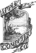 Apples første logo, med Sir Isaac Newton.