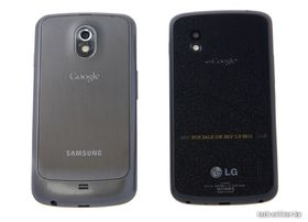 Samsung Galaxy Nexus (til venstre) og LG Nexus 4.