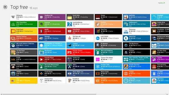 Windows 8 Store tilbyr applikasjoner til startskjermen.