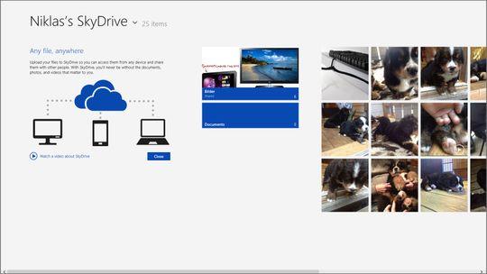 SkyDrive-applikasjonen gir deg full oversikt over alle filene du har lagret i Microsofts nettsky.