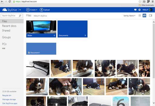 Du kan få tilgang til alle filene du lagrer i SkyDrive direkte fra nettleseren.