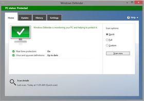 Windows Defender kommer med et gjenkjennelig og enkelt grensesnitt.