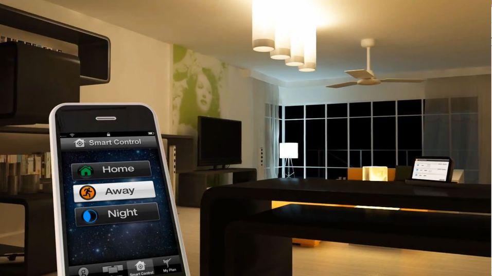 Du kan dimme eller skru av og på lyset fra en app på mobilen.