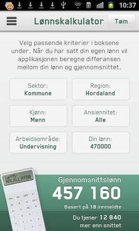 NITOs nye app har innebygget lønnskalkulator. .