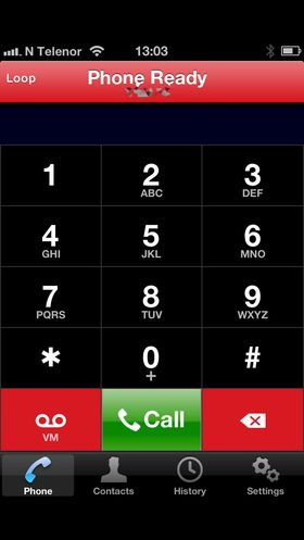 Skjermdump som viser startmenyen når du ringer med Loop på iPhone.