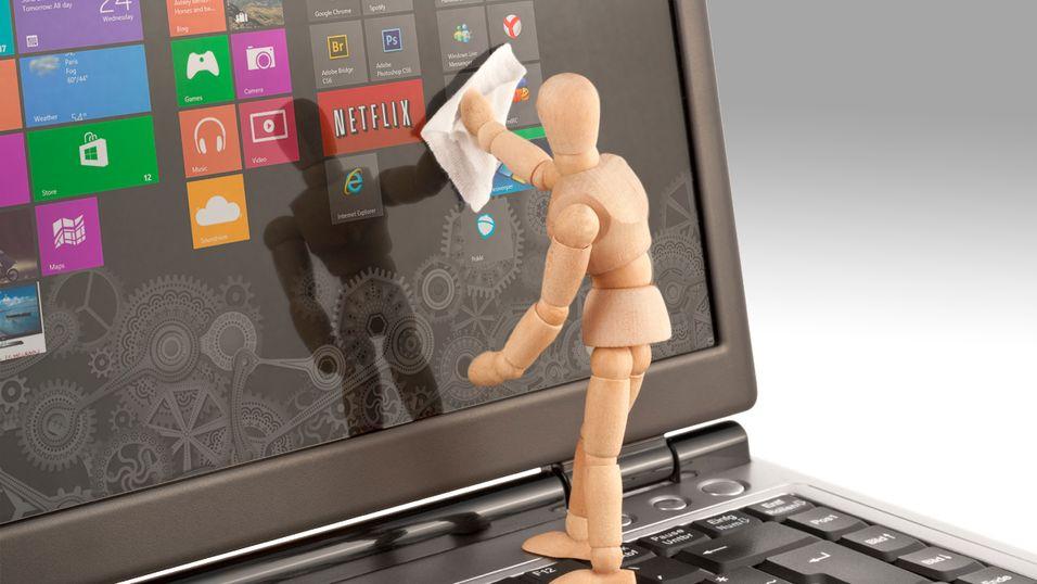 Det kan være greit å rense maskinen litt før du installerer Windows 8.