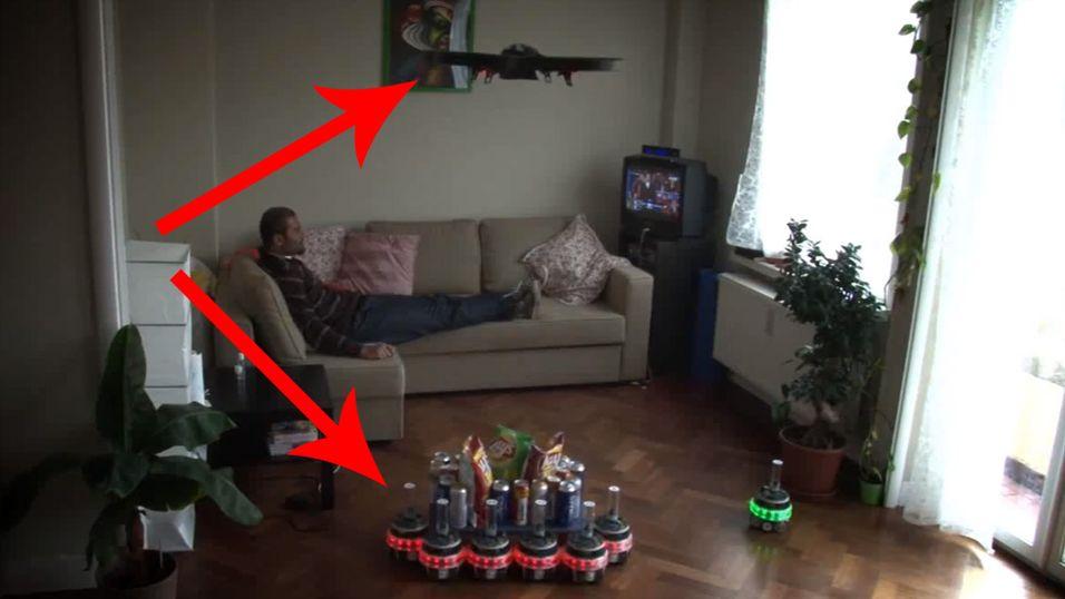 Droner og roboter kan samarbeide om å hente snacks ... eller ta over verden.