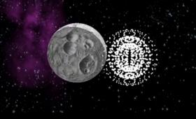 Illustrasjon av hvordan Apophis blir truffet av paintballer.