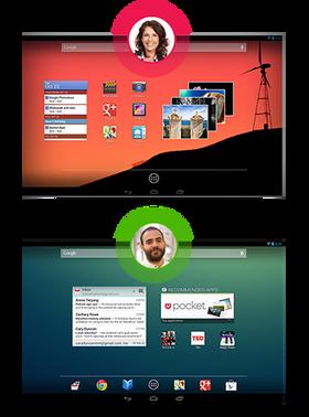 I Android 4.2 kan du veksle mellom brukere.