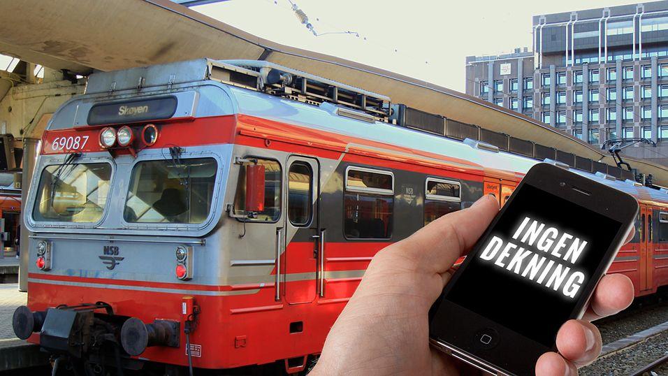 Mange klager over dårlig mobildekning på tog. NSB, Jernbaneverket og operatørene har ikke klart å bli enige om hvordan problemet skal løses.