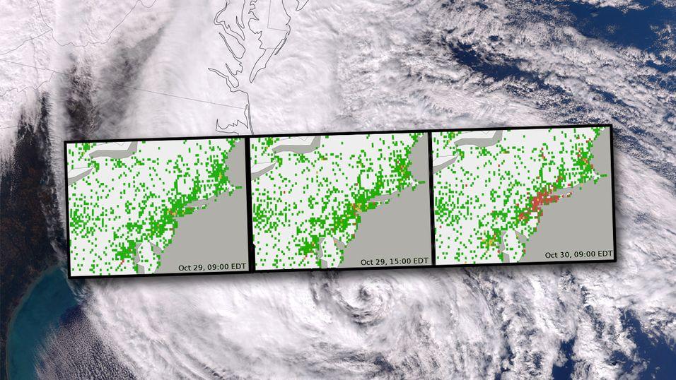 Stormen Sandy tok raskt knekken på internettilgangen til østkysten av USA.