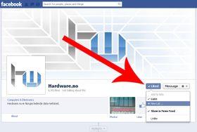 """Hold musen over """"Like""""-knappen på Facebook-sider. Her kan du velge å tilføye siden til en allerede eksisterende liste eller en ny."""