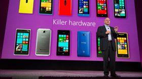 Microsofts toppsjef Steve Ballmer i forbindelse med lanseringen av Windows Phone 8.