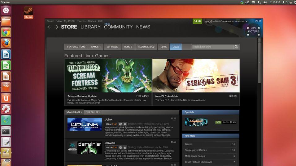 Slik ser Steam ut på Linux-distribusjonen Ubuntu.