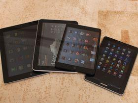 Noe for enhver smak. Fra venstre: iPad (3), Samsung Galaxy 8.9, iPad mini og Samsung Galaxy 7.7.