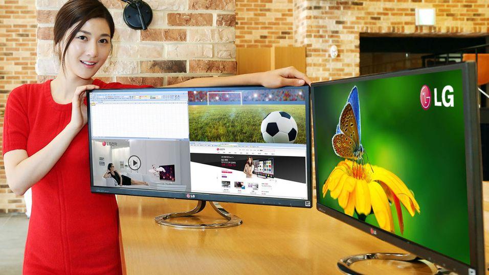 Med LGs brede EA93-skjerm kan du dele opp bildet i fire og motta signaler fra to ulike kilder.