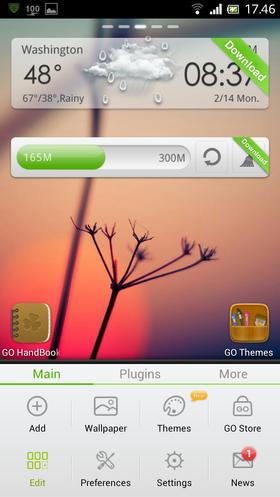 Trykker du på flervalgtasten i skrivebordet i GO Launcher, får du opp disse valgene.