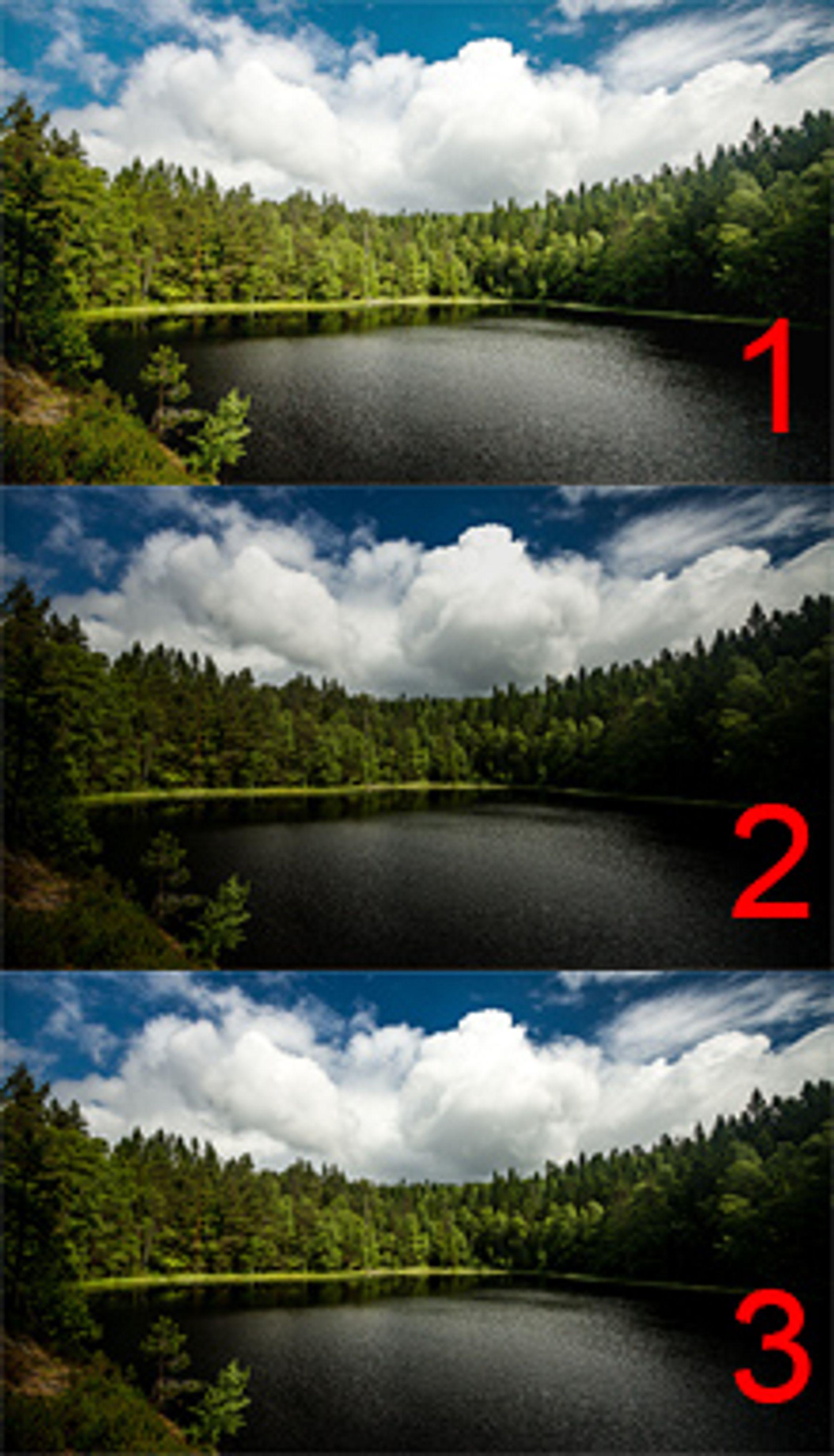 Eksempel der tre påfølgende bilder er eksponert litt annerledes.