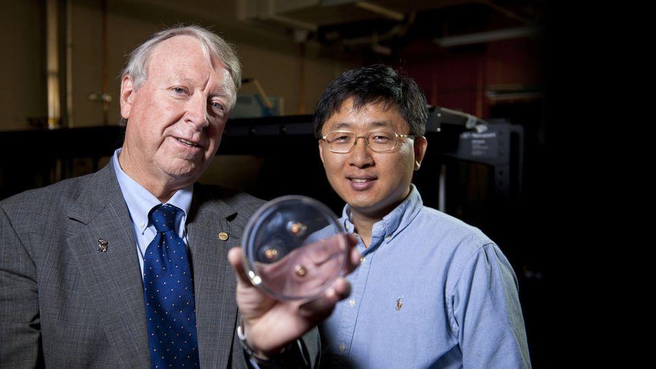 Edwin Thomas og Jae-Hwang Lee viser fram en polymer med tre kuler i seg.