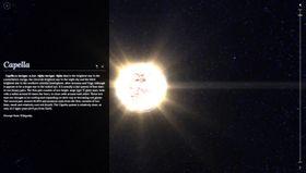 Du kan trykke på stjerner i vårt galaktiske nabolag for å få mer informasjon.