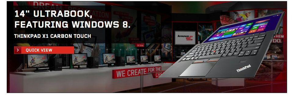 ThinkPad X1 Carbon med berøringsskjerm lå en kort stund ute på Lenovos hjemmesider, men er nå fjernet.